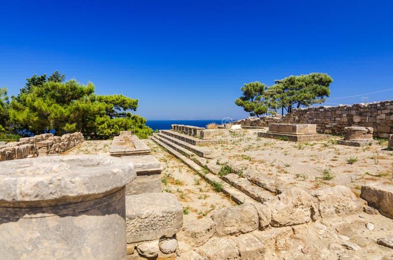 Αρχαία σημάδια αρχιτεκτονικής σε Kamiros στοκ εικόνες