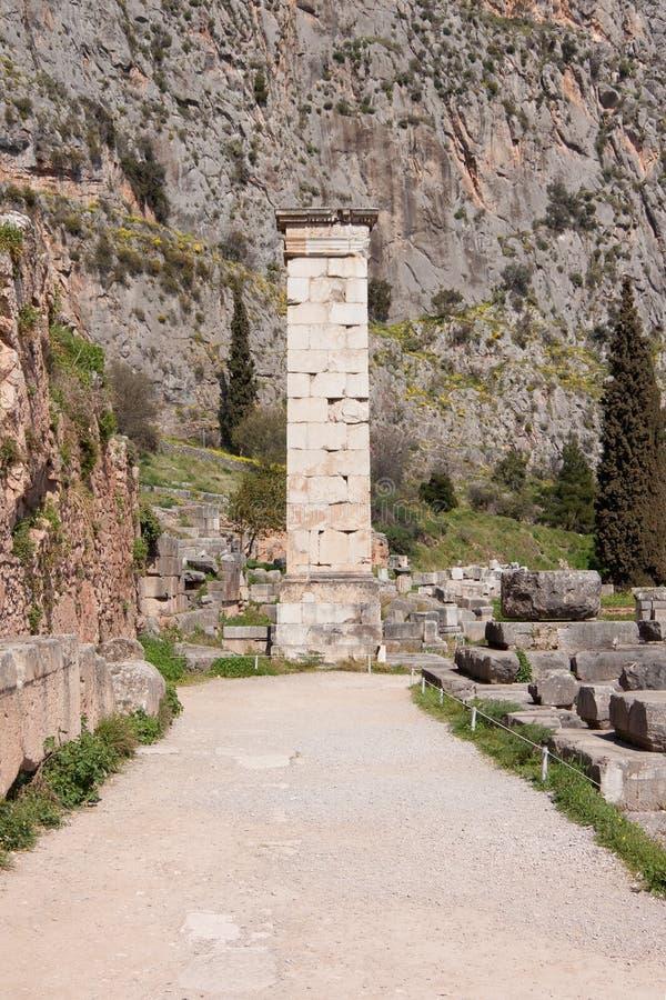 αρχαία στήλη Δελφοί στοκ εικόνα