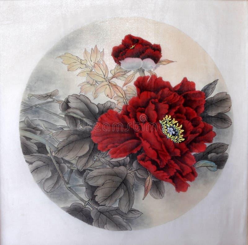 Αρχαία τέχνη της Κίνας της εικόνας στο μετάξι Κόκκινος peony στοκ φωτογραφίες με δικαίωμα ελεύθερης χρήσης