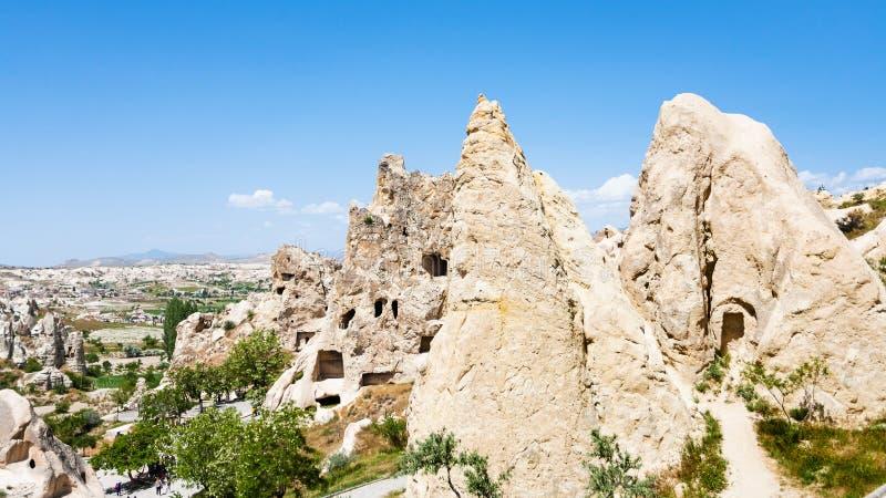 αρχαία τακτοποίηση σπηλιών κοντά σε Goreme σε Cappadocia στοκ φωτογραφία με δικαίωμα ελεύθερης χρήσης
