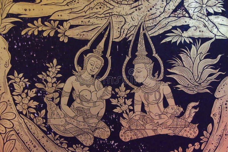 Αρχαία ταϊλανδική επιχρυσωμένη ύφος ζωγραφική στοκ φωτογραφία