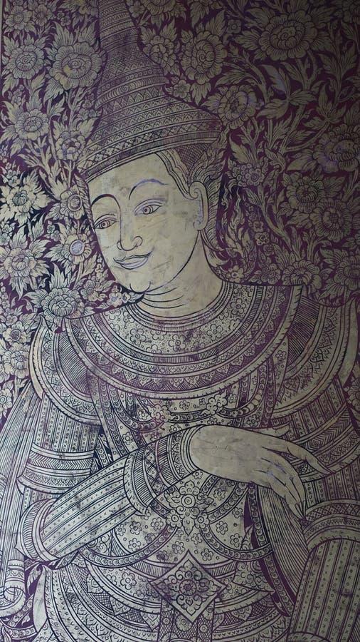 Αρχαία ταϊλανδική τέχνη, ζωγραφική στοκ εικόνες