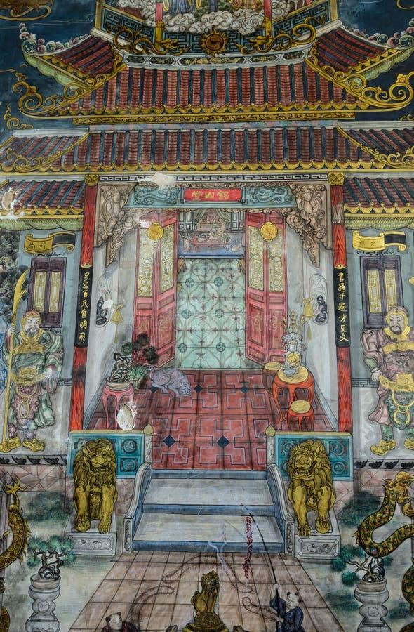 Αρχαία ταϊλανδική mural τέχνη στο κινεζικό ύφος στοκ φωτογραφία με δικαίωμα ελεύθερης χρήσης