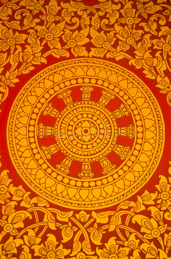 αρχαία τοιχογραφία που χρωματίζει το θρησκευτικό σύμβολο Ταϊλανδός στοκ εικόνες