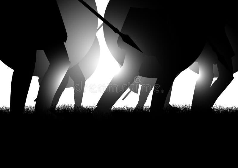 Αρχαίες ασπίδα και λόγχη εκμετάλλευσης Μαρτίου στρατού διανυσματική απεικόνιση