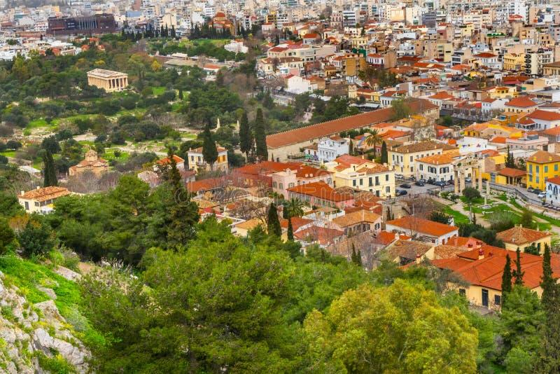 Αρχαίες ελληνικές γειτονιές αγορών από την ακρόπολη Αθήνα Ελλάδα στοκ εικόνες με δικαίωμα ελεύθερης χρήσης