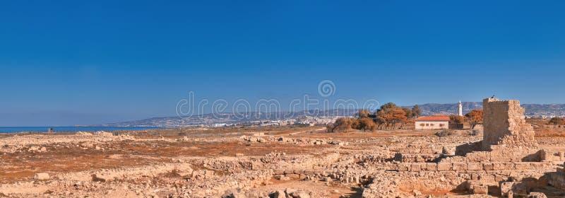Αρχαίες καταστροφές στο αρχαιολογικό πάρκο της Kato Πάφος στη Κύπρο στοκ εικόνες