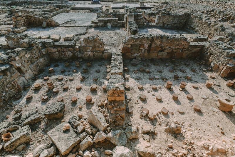 Αρχαίες καταστροφές της Kato Pafos, Κύπρος στοκ εικόνες