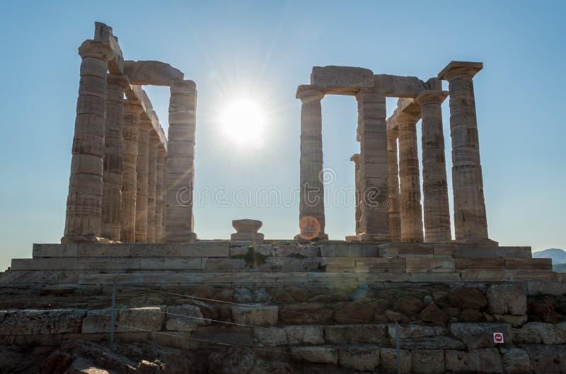 Αρχαίες καταστροφές του ναού Poseidon στοκ εικόνες