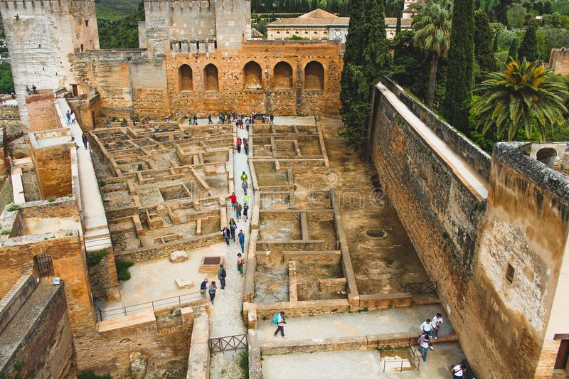 Αρχαίες παλαιές μαυριτανικές/μουσουλμανικές καταστροφές στη Γρανάδα, Ισπανία στοκ εικόνα