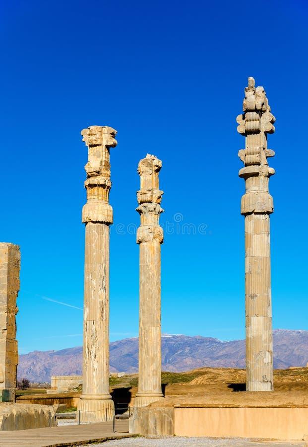 Αρχαίες στήλες στην πύλη όλων των εθνών - Persepolis στοκ εικόνα