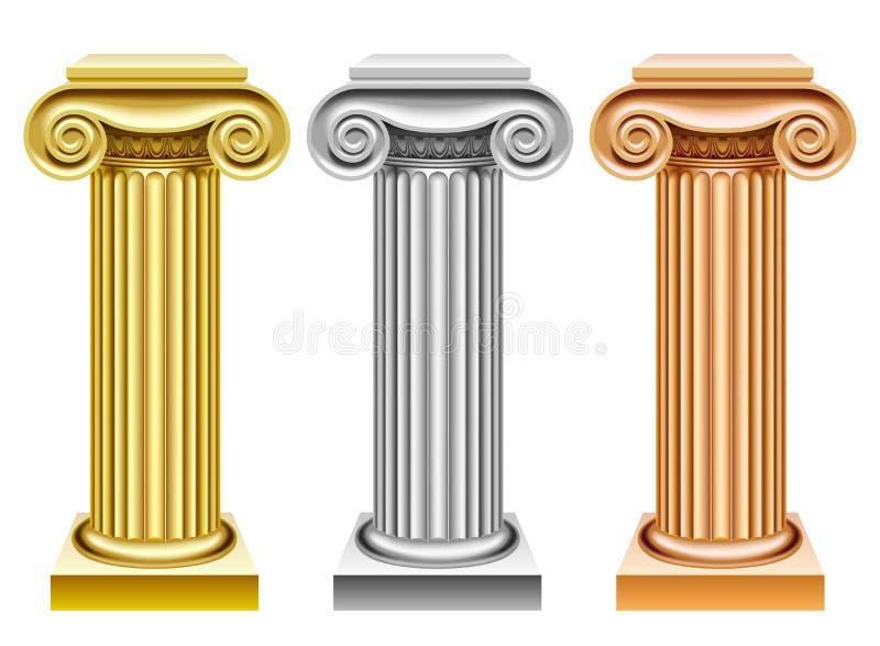 Αρχαίες στήλες χρυσού, ασημιών και χαλκού ελεύθερη απεικόνιση δικαιώματος