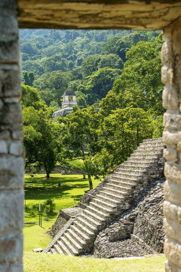 Αρχαίες των Μάγια δομές Palenque Μεξικό στοκ εικόνες με δικαίωμα ελεύθερης χρήσης