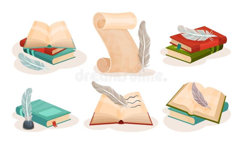 Αρχαίοι χάρτινοι πάπυροι, βιβλία και πτερύγια, ρετρό γραφή, σύμβολα επιστήμης και γνώσης ελεύθερη απεικόνιση δικαιώματος