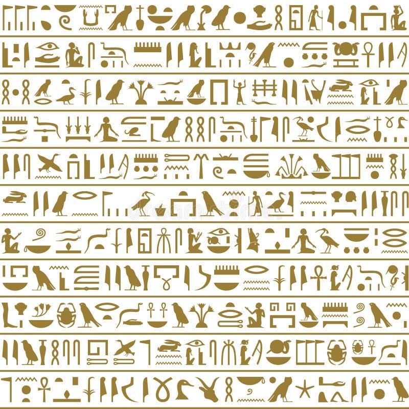 Αρχαίος αιγυπτιακός Hieroglyphs άνευ ραφής οριζόντιος διανυσματική απεικόνιση