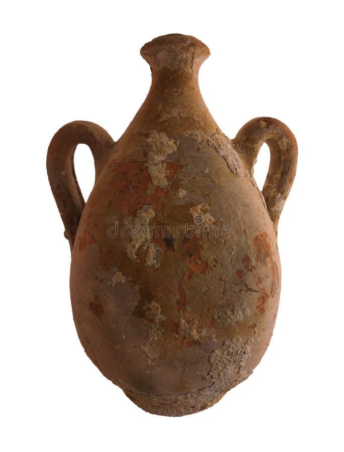 Αρχαίος αμφορέας αργίλου που απομονώνεται στοκ φωτογραφίες