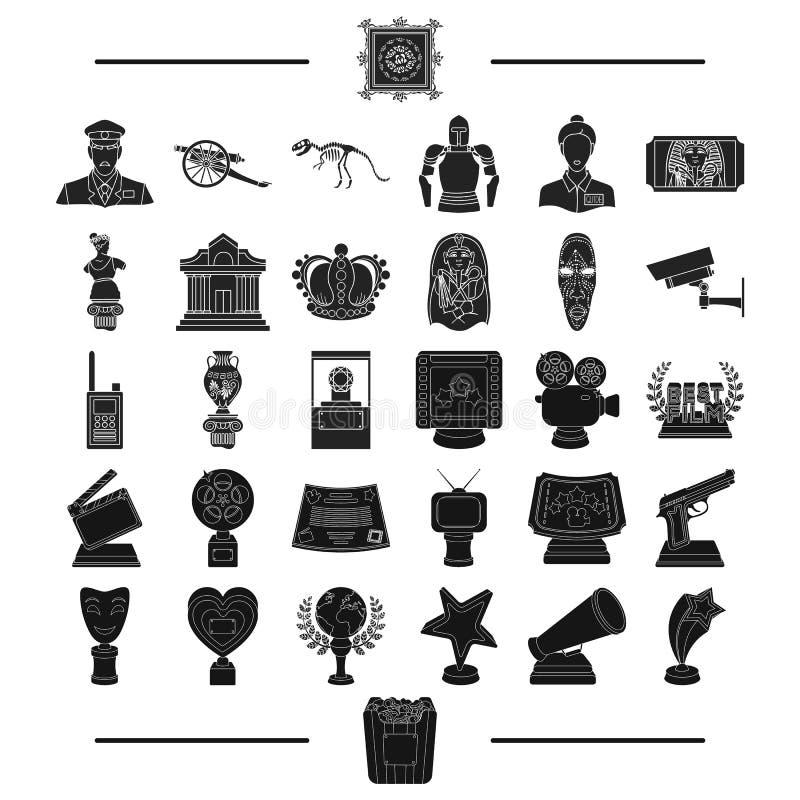 Αρχαίος, μουσείο, αρχαιότητα και άλλο εικονίδιο Ιστού στο μαύρο ύφος δώρα, ιστορία, προϊόντα, εικονίδια στην καθορισμένη συλλογή ελεύθερη απεικόνιση δικαιώματος