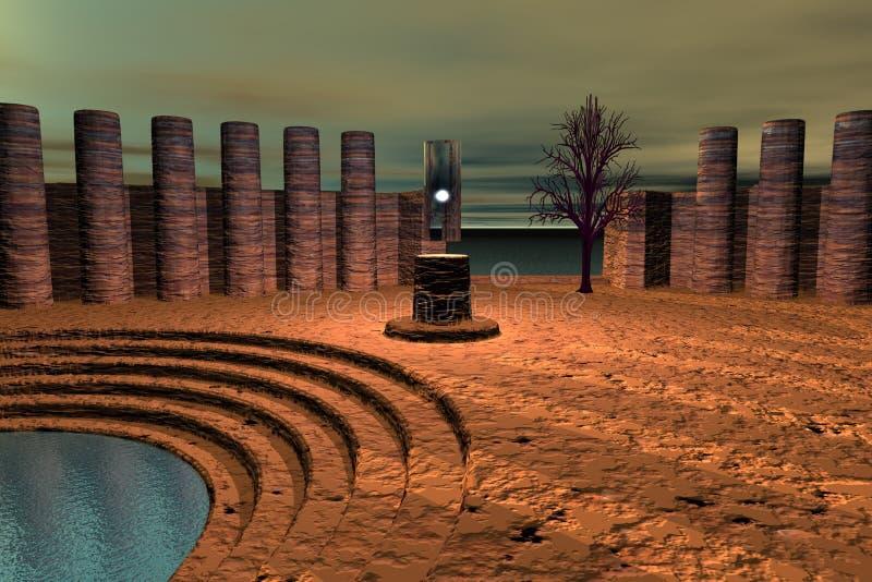 αρχαίος ναός καταστροφών διανυσματική απεικόνιση