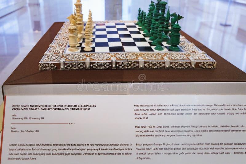 Αρχαίος πίνακας σκακιού στο μουσείο στη Κουάλα Λουμπούρ στοκ φωτογραφία