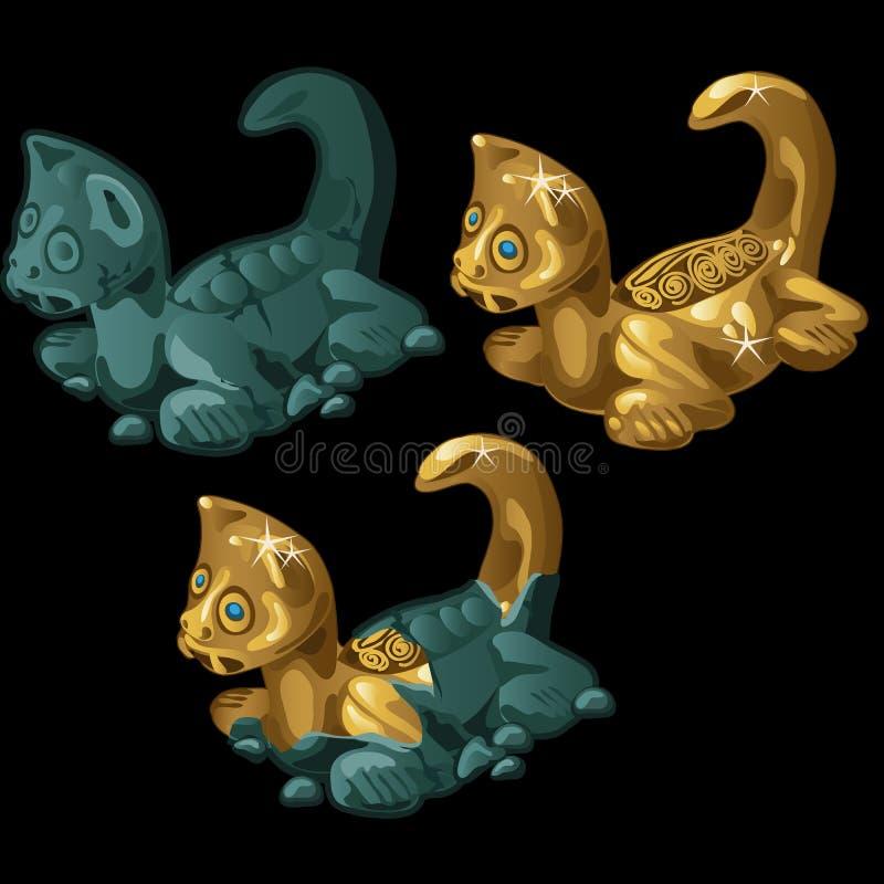 Αρχαίος δράκος αγαλμάτων τρία καθαρός και βρώμικος διανυσματική απεικόνιση