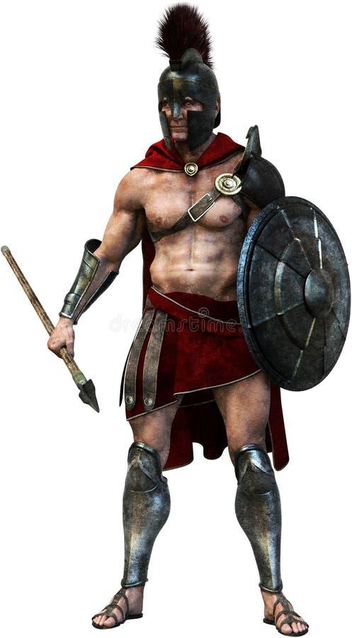 Αρχαίος ρωμαϊκός λιτός στρατιώτης, απομονωμένος πολεμιστής διανυσματική απεικόνιση