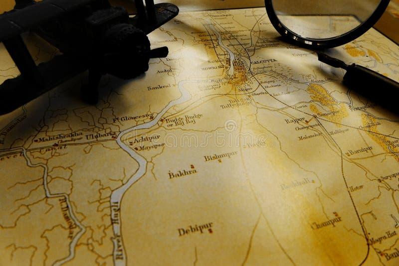Αρχαίος σκοτεινός τόνος χαρτών της Καλκούτας Ινδία στοκ φωτογραφίες με δικαίωμα ελεύθερης χρήσης