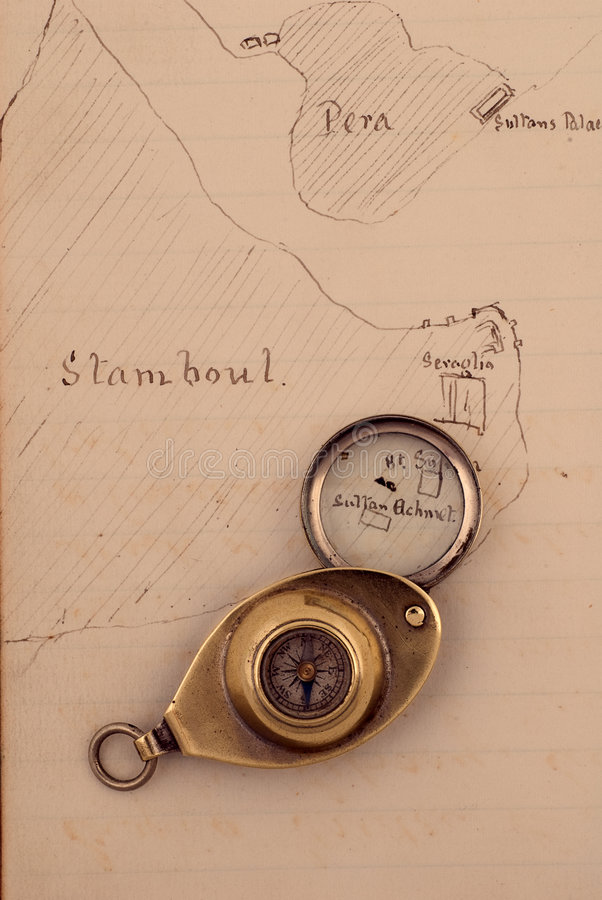 αρχαίος σχεδιαζόμενος πυξίδα χάρτης χεριών 1872 στοκ εικόνα