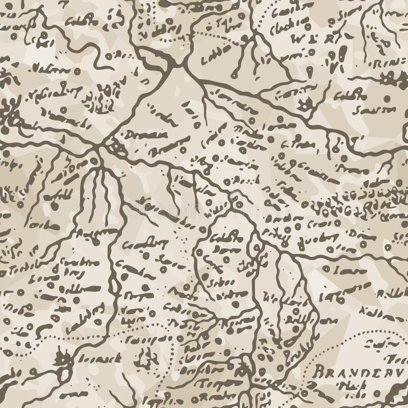 αρχαίος χάρτης άνευ ραφής &delta διανυσματική απεικόνιση