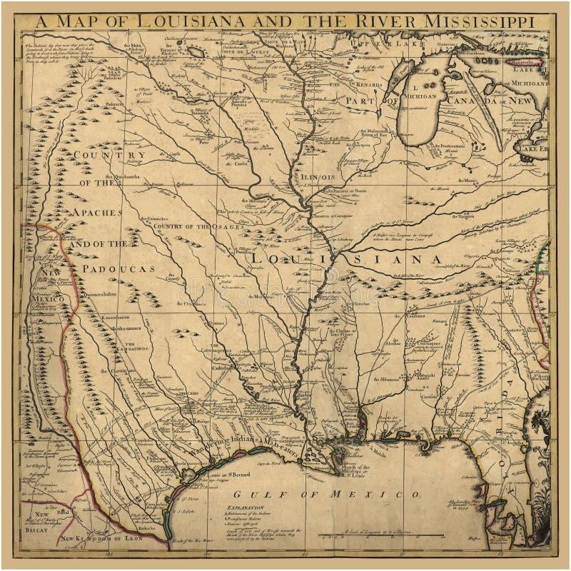 Αρχαίος χάρτης Λουιζιάνα τέχνης υποβάθρου απεικόνιση αποθεμάτων