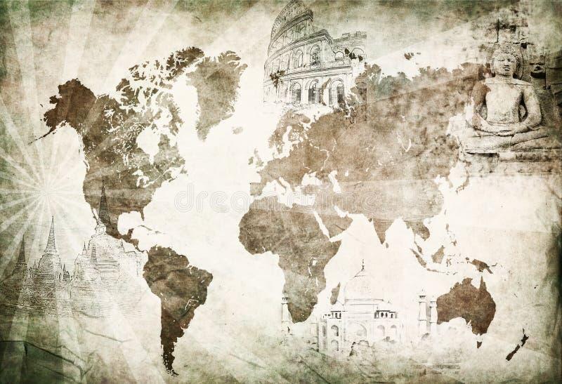 Αρχαίος χάρτης παγκόσμιου ταξιδιού στοκ εικόνα