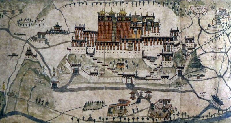Αρχαίος χάρτης 1859 Lhasa, παλάτι Potala στοκ εικόνες