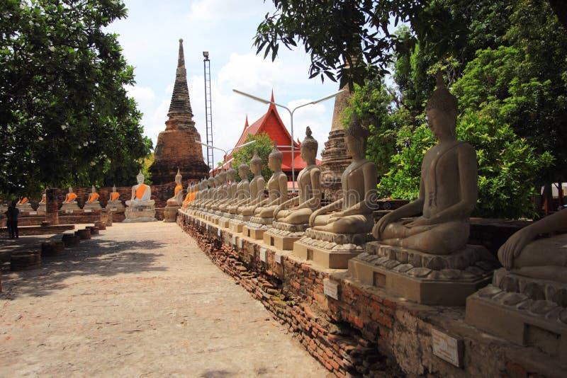Αρχαίο άγαλμα του Βούδα στο ιστορικό πάρκο Ayutthaya στοκ φωτογραφίες με δικαίωμα ελεύθερης χρήσης
