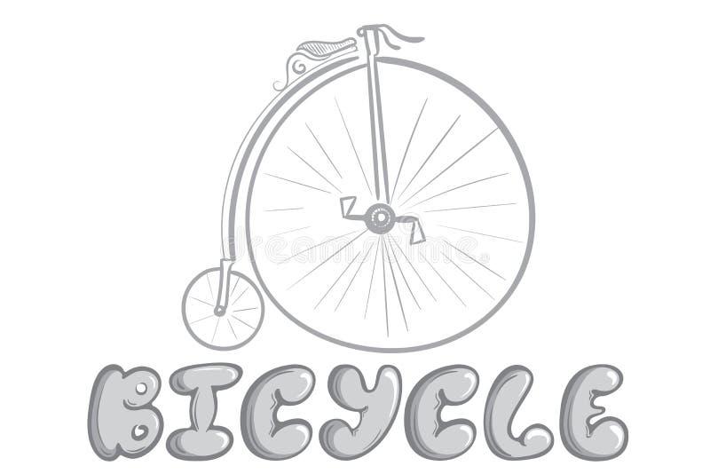 Αρχαίο γκρίζο λευκό σκίτσων ποδηλάτων ελεύθερη απεικόνιση δικαιώματος