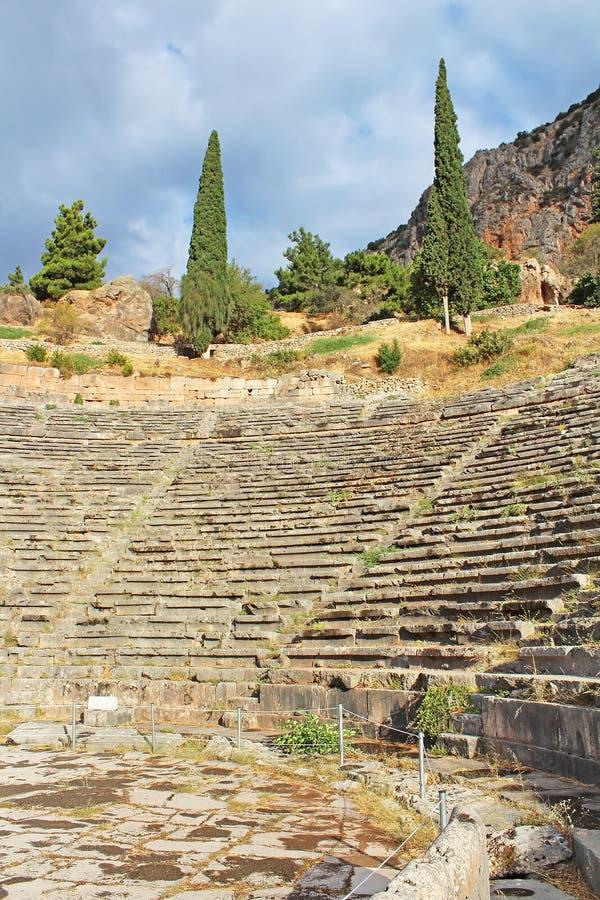 Αρχαίο θέατρο, Δελφοί, Ελλάδα στοκ φωτογραφία