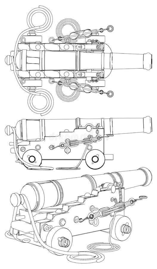 Αρχαίο διάνυσμα πυροβόλων όπλων πυροβολικού σκαφών ελεύθερη απεικόνιση δικαιώματος