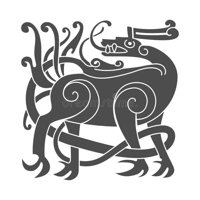 Αρχαίο κελτικό μυθολογικό σύμβολο των ελαφιών Διανυσματική διακόσμηση κόμβων ελεύθερη απεικόνιση δικαιώματος