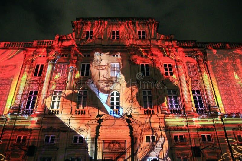 Αρχαίο κτήριο στο φεστιβάλ του φωτός, παλαιά πόλη της Λυών, Γαλλία στοκ φωτογραφία με δικαίωμα ελεύθερης χρήσης