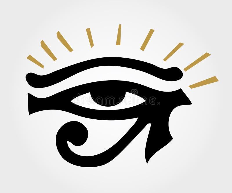 Αρχαίο μάτι RA με τις ακτίνες ήλιων διανυσματική απεικόνιση