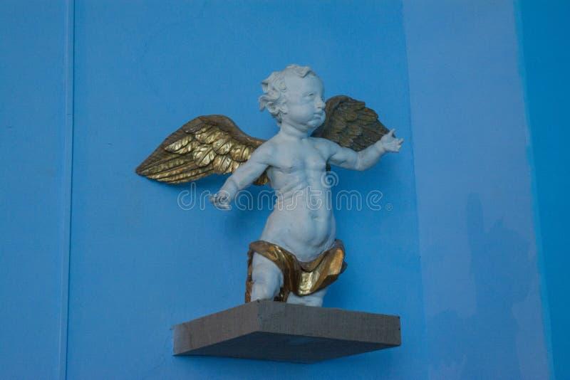 Αρχαίο μικρό άγαλμα του αγγέλου μωρών στοκ φωτογραφίες με δικαίωμα ελεύθερης χρήσης