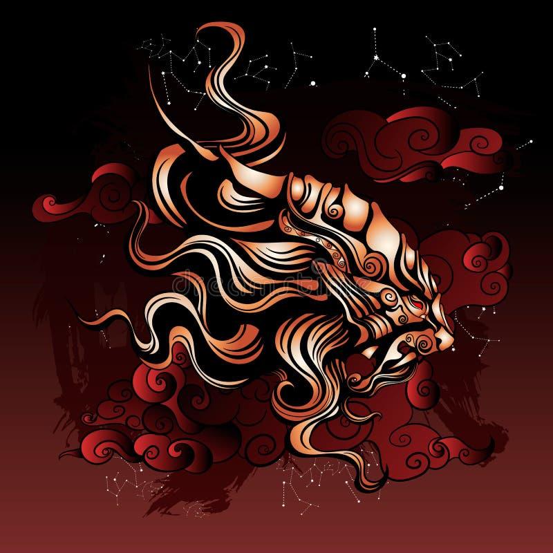 Αρχαίο μυθικό λιοντάρι από την ανατολική λαογραφία απεικόνιση αποθεμάτων