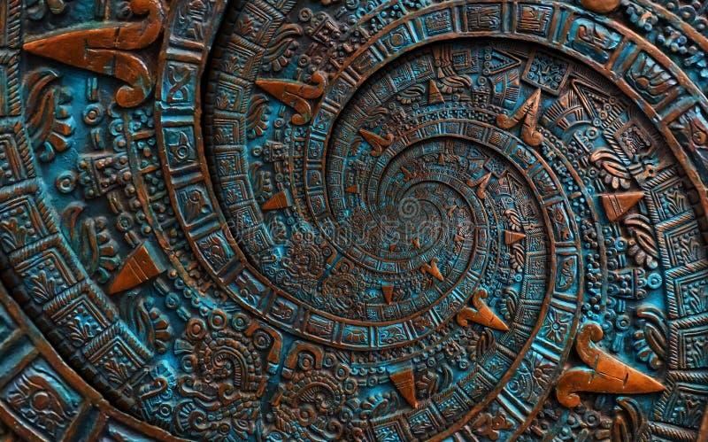 Αρχαίο παλαιό κλασσικό σπειροειδές των Αζτέκων υπόβαθρο σχεδίου διακοσμήσεων σχεδίων διακοσμήσεων χαλκού Υπερρεαλιστικό αφηρημένο στοκ εικόνα με δικαίωμα ελεύθερης χρήσης