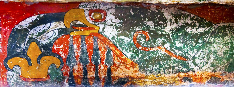 Αρχαίο πουλί που χρωματίζει Mural Teotihuacan Πόλη του Μεξικού Μεξικό στοκ φωτογραφία με δικαίωμα ελεύθερης χρήσης