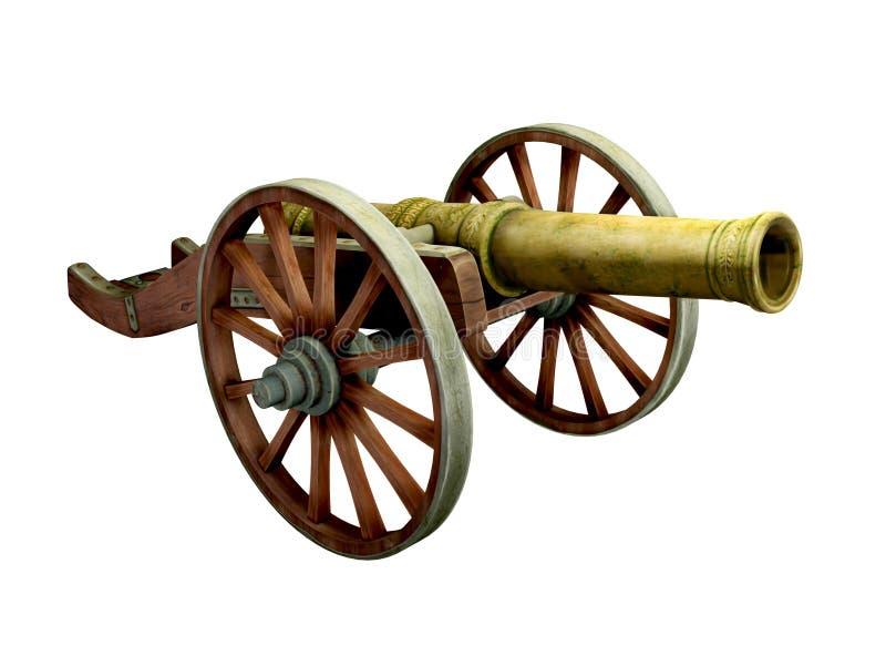 Αρχαίο πυροβόλο στις ρόδες διανυσματική απεικόνιση