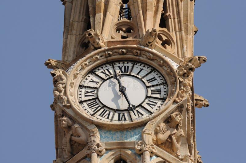 αρχαίο ρολόι Ισπανία της Βαρκελώνης στοκ εικόνες με δικαίωμα ελεύθερης χρήσης