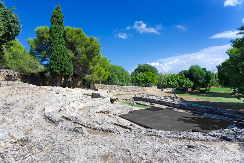Αρχαίο ρωμαϊκό θέατρο σε Majorca στοκ εικόνες