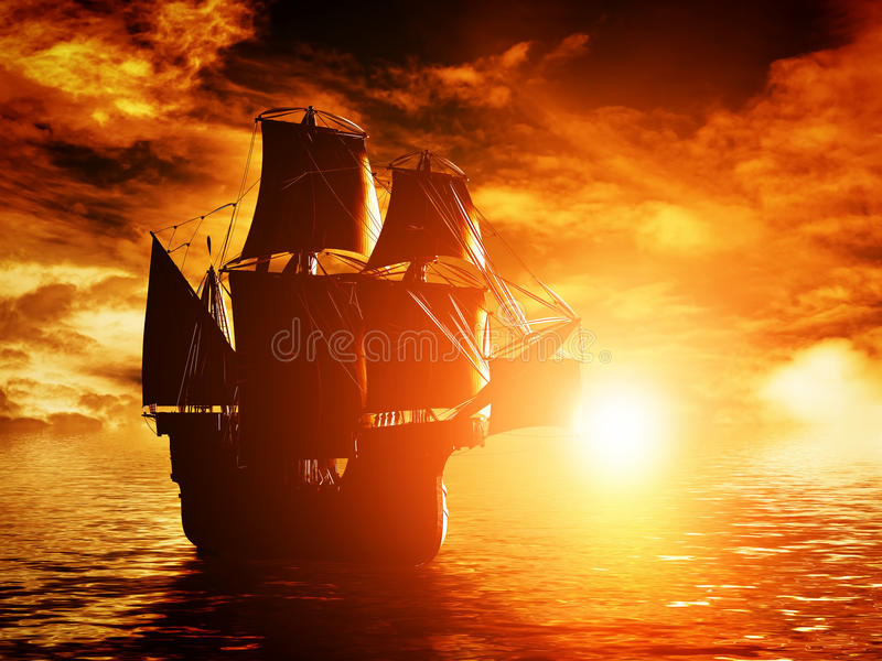 Αρχαίο σκάφος πειρατών που πλέει με τον ωκεανό στο ηλιοβασίλεμα στοκ εικόνες