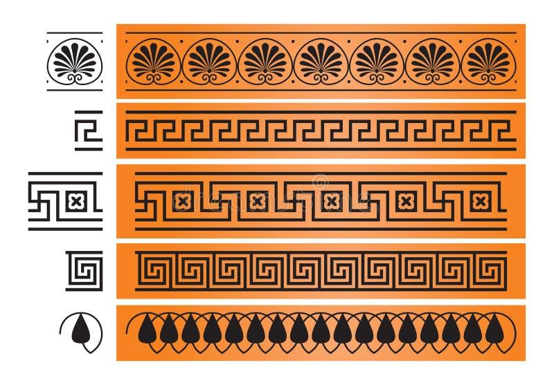 Αρχαίο στοιχείο σχεδίου διακοσμήσεων της Ελλάδας απεικόνιση αποθεμάτων