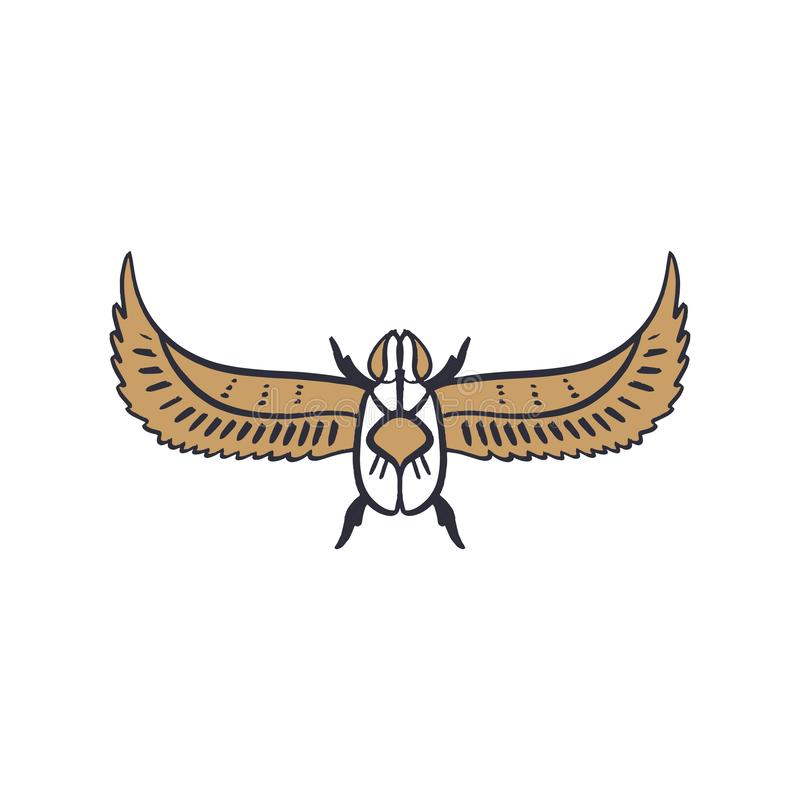 Αρχαίο σύμβολο της Αιγύπτου, εικονίδιο κανθάρων Στοιχείο, εικόνα περιλήψεων, έντομο τέχνης γραμμών Δερματοστιξία λάμψης σχεδίων ελεύθερη απεικόνιση δικαιώματος