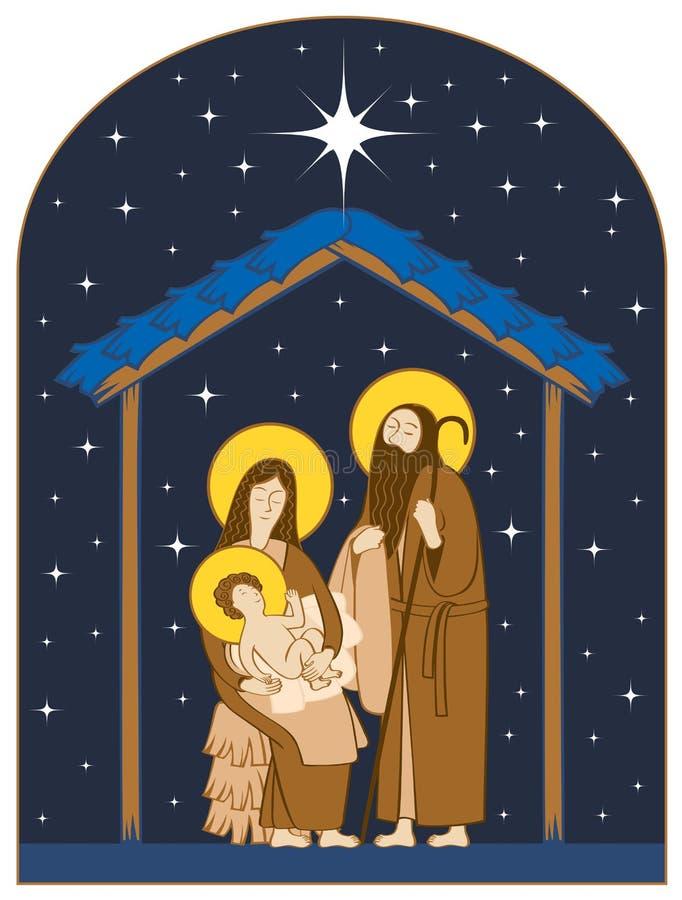 αρχαίο σύνολο σκηνής nativity ειδωλίων Ιερό αστέρι οικογένειας και Χριστουγέννων διανυσματική απεικόνιση