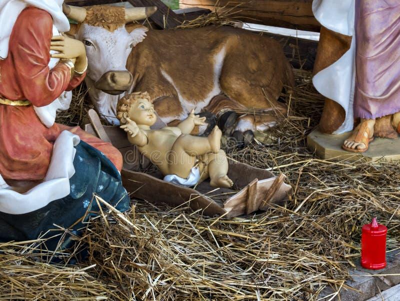 αρχαίο σύνολο σκηνής nativity ειδωλίων Χριστούγεννα στοκ φωτογραφία με δικαίωμα ελεύθερης χρήσης